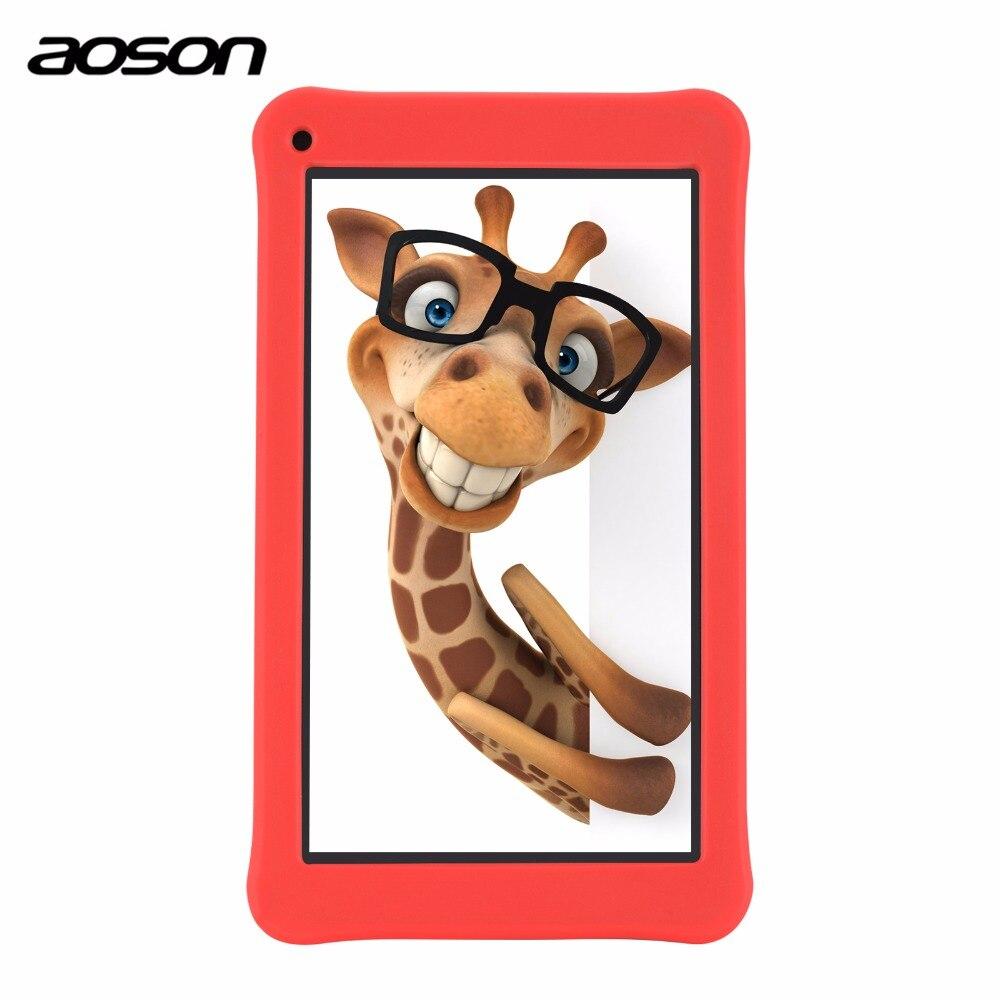 Bonito 7 polegada Crianças Pad Tablet 16 GB/1 GB Android 7.1 Aoson M753 Crianças Aprendendo Tablet PC com o Software De Controle Parental Silicone caso