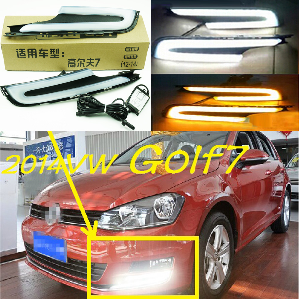ФОТО Car-styling,Golf7 daytime light,2014~2016,chrome,LED,Free ship!2pcs,Golf7 fog light,car-covers,Gol,Golf7,Golf 7