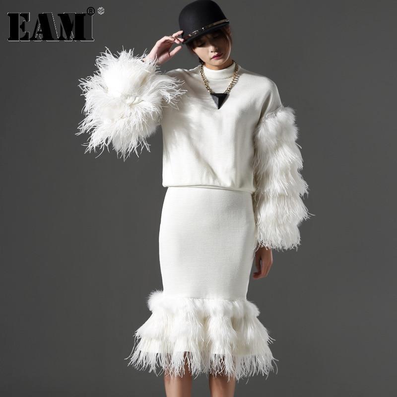 [EAM] 2018 Настройка осень-зима Разделение Совместное Мех длинный рукав футболка + рыбий хвост юбка костюм из двух предметов Для женщин Мода AZ600