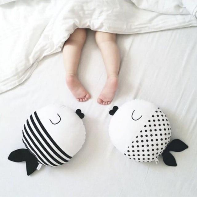 White Dots Fish Stripes  Baby Pillow Cotton Animals Pattern Soft Cozy Baby Crib Decoration Kawaii children sleep pillow