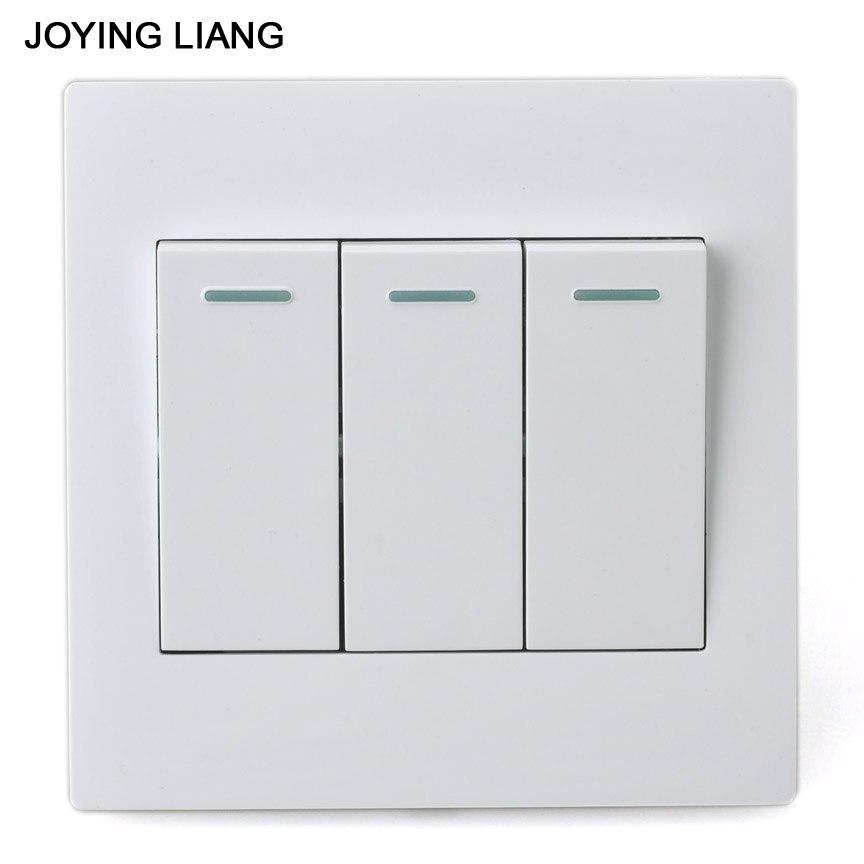 JOYING LIANG Classic White 86 Three gang One way Rocker Switch PC ...