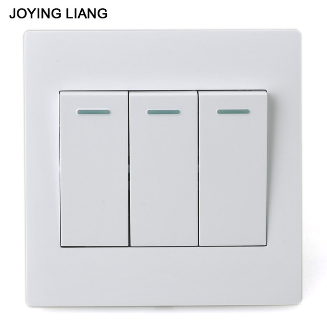 Joying Liang Classic White 86 Three Gang One Way Rocker Switch Pc