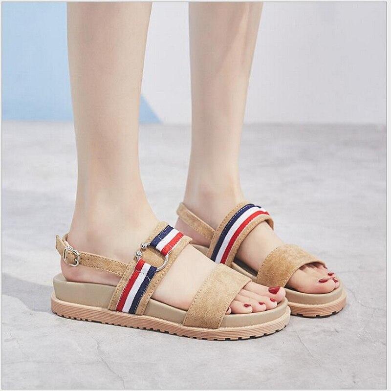RUSHIMAN 2018 été West velours plat sandales chaussures pour femmes plate-forme sandales dame décontracté loisirs sandales de plage sandalias muje