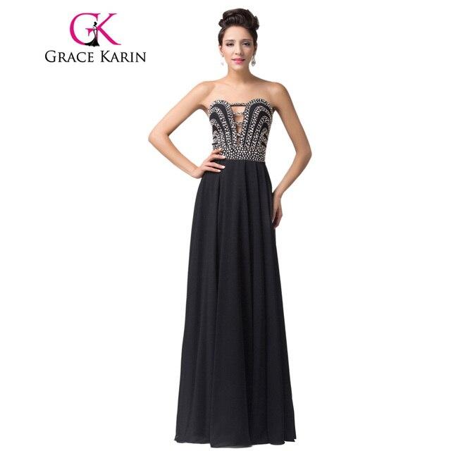 5c457e70a56 Grâce Karin Robe de Soirée Long Black Paillettes Perles Mousseline de Soie Élégante  Robes de Soirée