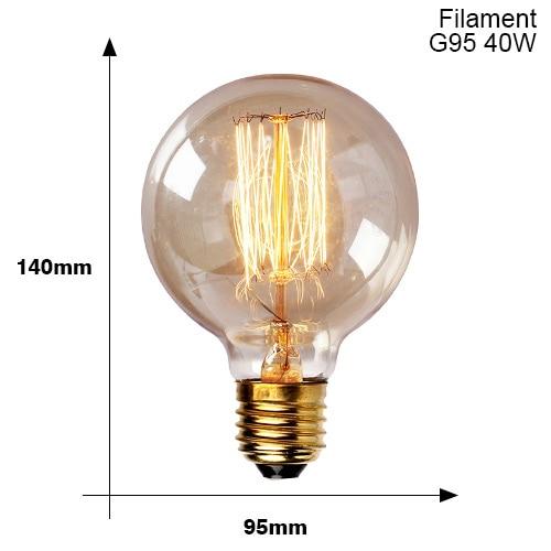 Винтажные подвесные светильники E27 патрон лампы 110V 220V винт переключения установки e27 Цоколи лампы Ретро держатель лампы edison - Цвет: E27 G95 40W