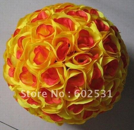 SPR 40 cm centre plastique soie artificielle baiser décoration fleurs boule-jaune rouge