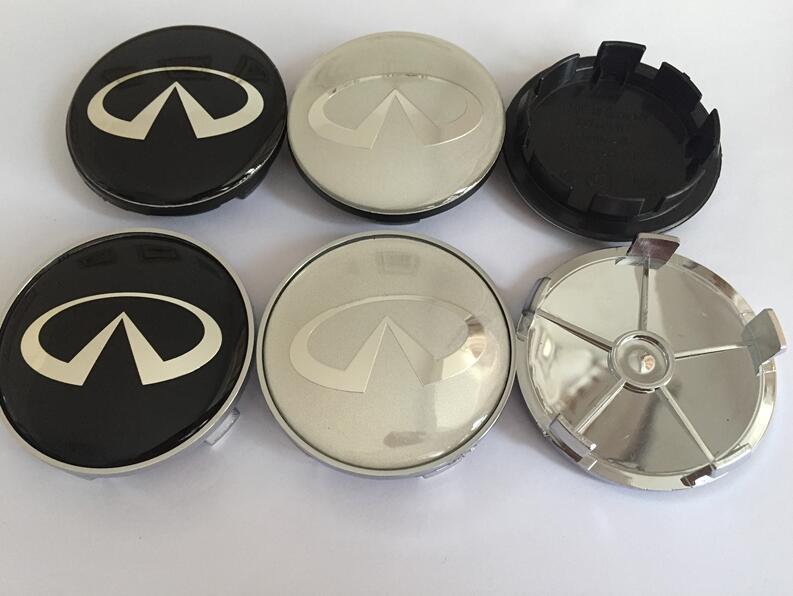 4pcs 56mm 60mm 65mm 68mm Car Wheel Hub Center Cap Badge 3D Logo Dust-Proof Covers 3D Stickers for q30 q50 g35 g37 fx35 fx37 qx70 Black 68mm Badge