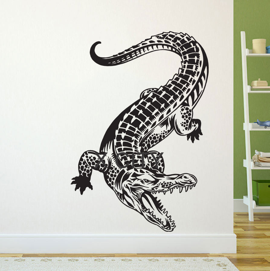 online get cheap animal wall stencils aliexpress com alibaba group crocodile alligator wall art vinyl sticker decal decor living room bedroom home interior mural stencil