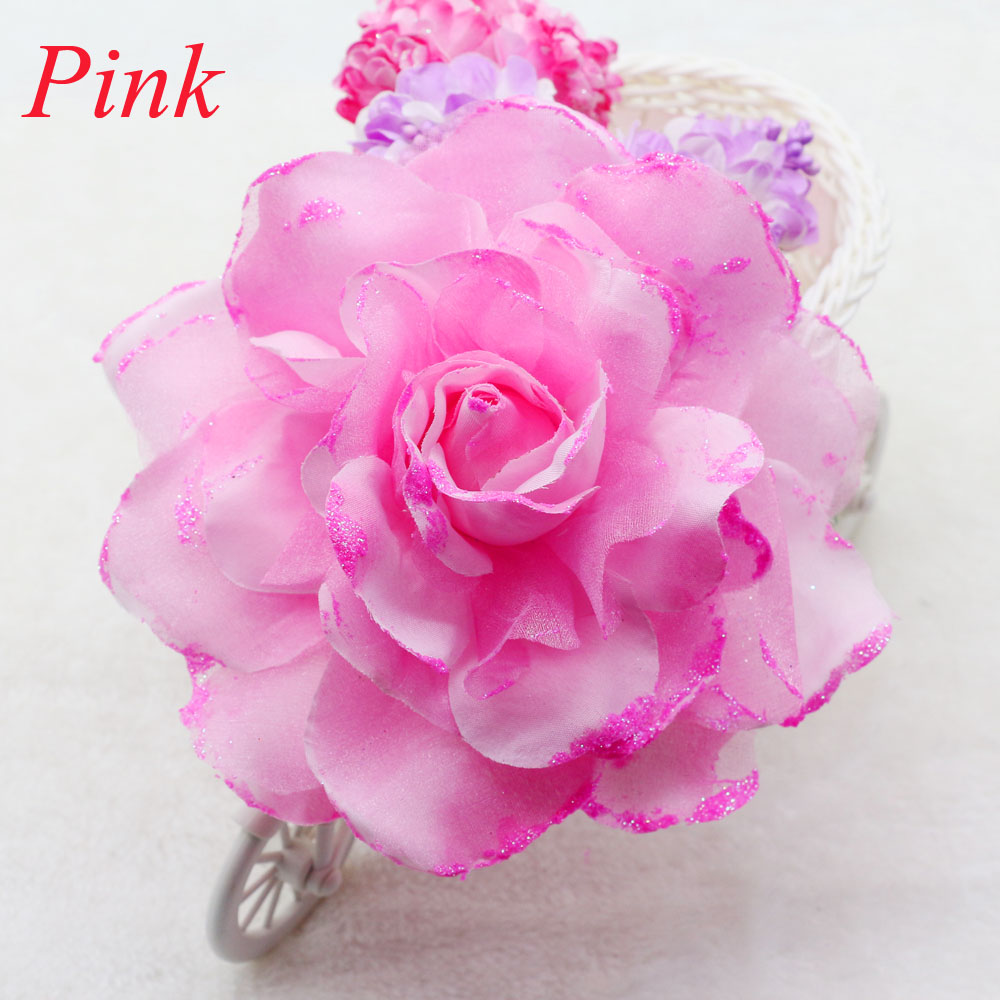 ⑥15CM NEW pink Romantic Glitter Rose Headdress Corsage Hairband ...