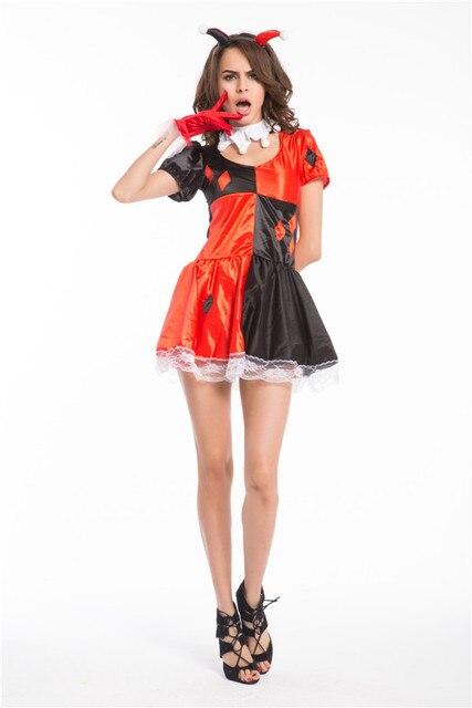 Envío Gratis Funny Harley Quinn traje mujer adulto payaso circo ...