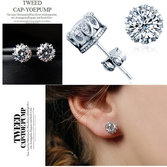 Crystals From Swarovski Multi Gs Cz Crown Earring Stone Sliver Gold Color Round Stud