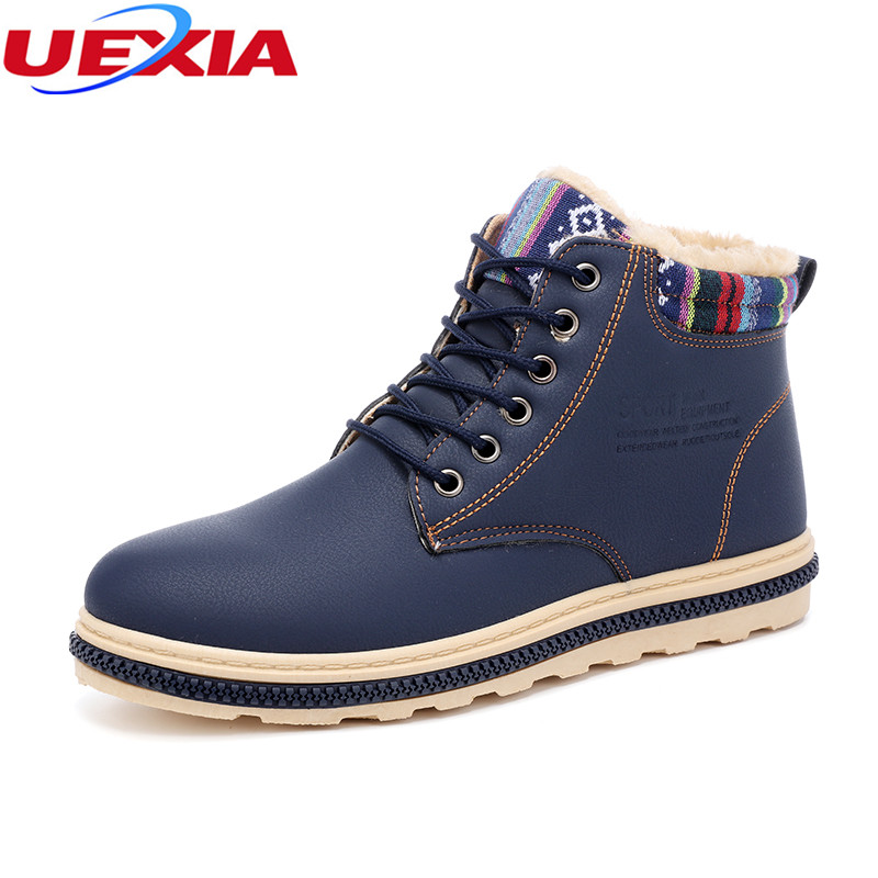 UEXIA Men Ankle Boots Casual Flats Fashion Work Shoes Flats Winter Warn Cotton Short Plush Male Shoes Snow Martin Boots Antiskid fashion womens shoes warm winter cotton shoes tennis feminino casual girl shoes comfortable ladies flats long plush women flats