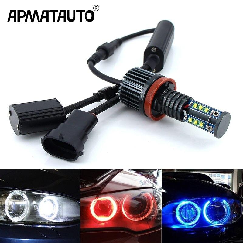 2x Canbus LED Angel Eyes light 10w 20w 30w 60w H8 LED HID Bulb For BMW E60 E61 E63 E64 E70 X5 E71 X6 E82 E87 E89 Z4 E90 E91 E92