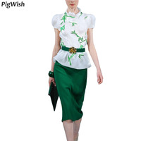Fashion Summer Tops For Women 2018 New Two Piece Outfits Skirt Set Womens Clothing Two Piece Set Skirt White Green