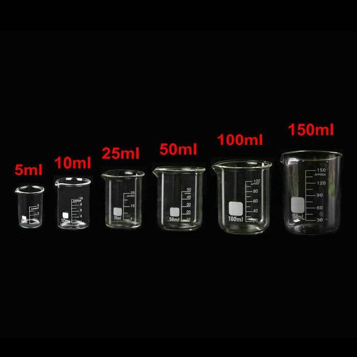 6pcs/set 5ml/10ml/25ml/50ml/100ml/150ml Low Form Glass Beaker Chemistry Experiment Labware For School