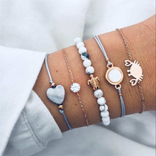 5 PCS Bohemia turtle Crab Heart Bracelets Set For Woman Natural stone Beads Bracelet Bangles Adjustable Girls Jewelry Gifts