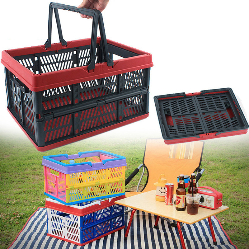 Collapsible Plastic Storage Crate with Folding Handles Container Grated Wall Foldabl Utility Shopping Carry Basket Tote Handle tote bag