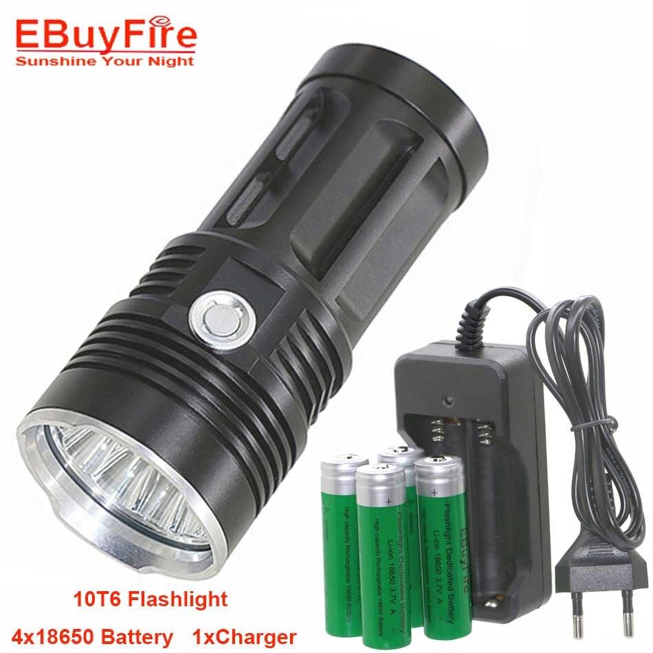 10T6 LED lampe de Poche ROI T6 18650 lampes de poche étanche rechargeable Torche Camp Lampe Chasse