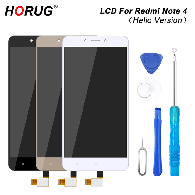 HORUG 100% AAAA Original LCD For Xiaomi Redmi Note 4 Screen LCD Helio Version Replacement Display Redmi Note 4 Touch Screen LCDS