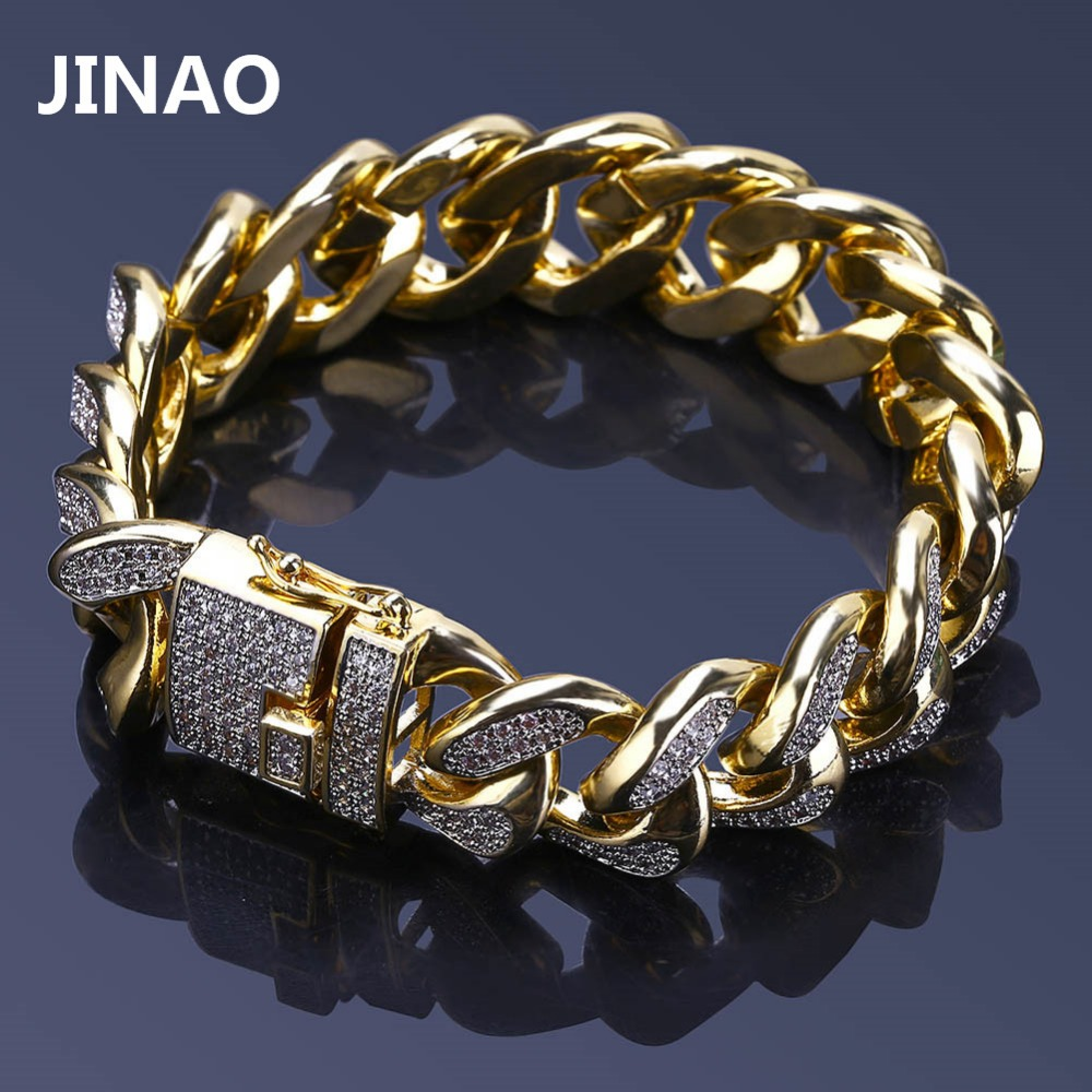 JINAO 18mm Men Hip Hop Iced Out Miami Cuban Link Bracelet Gold Silver Color Plated Chain Bracelets Men Women Fashion Jewelry topgrillz spikes rivet stud mens rivet charm bracelets 2018 iced out gold silver color bracelets for men hip hop punk jewelry