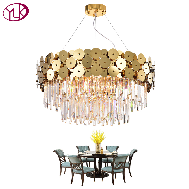 Youlaike Luxury Modern Chandelier Lighting For Living Room Gold Suspension Wire LED Cristal Lustre Dining Room