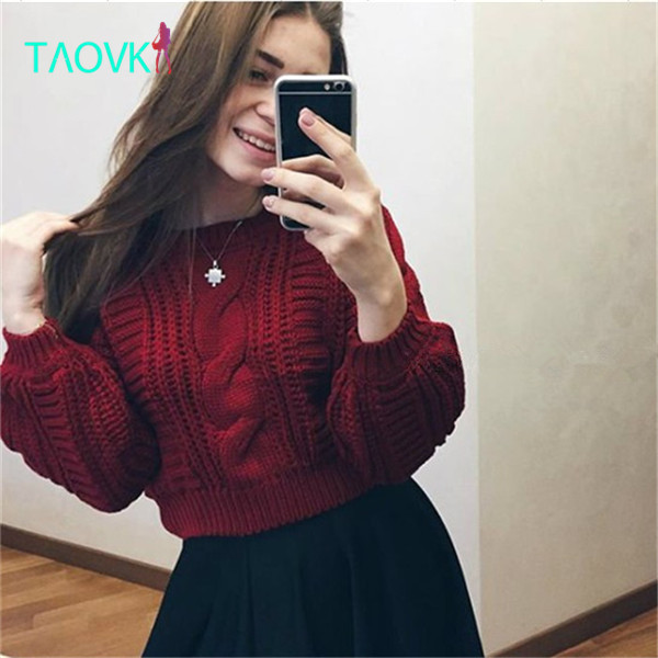 TAOVK 2016 new fashion Russian style Women Autumn sweater 6 colors short paragraph lantern twist sleeves knitted sweater