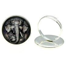2 Colors Handmade Adjustable Rings 20mm Ganesha Elephant Glass Cabochon For Women Jewelry Dropshipping