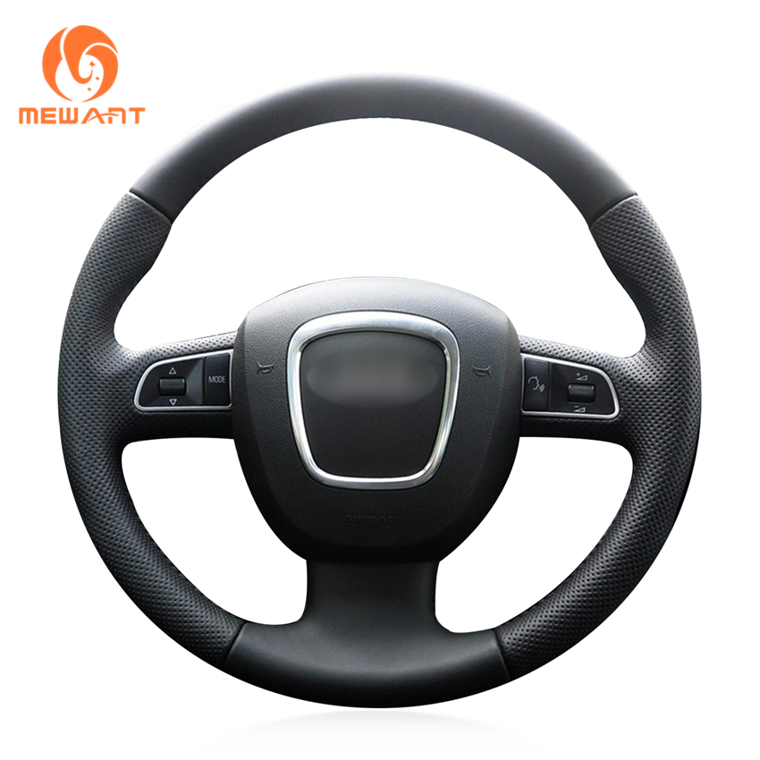 MEWANT Black Artificial Leather Steering Wheel Cover for Audi A3 (8P) 2008-2013 A4 (B8) 2008-2010 A5 2008-2010 A6 (C6) 2007-2011