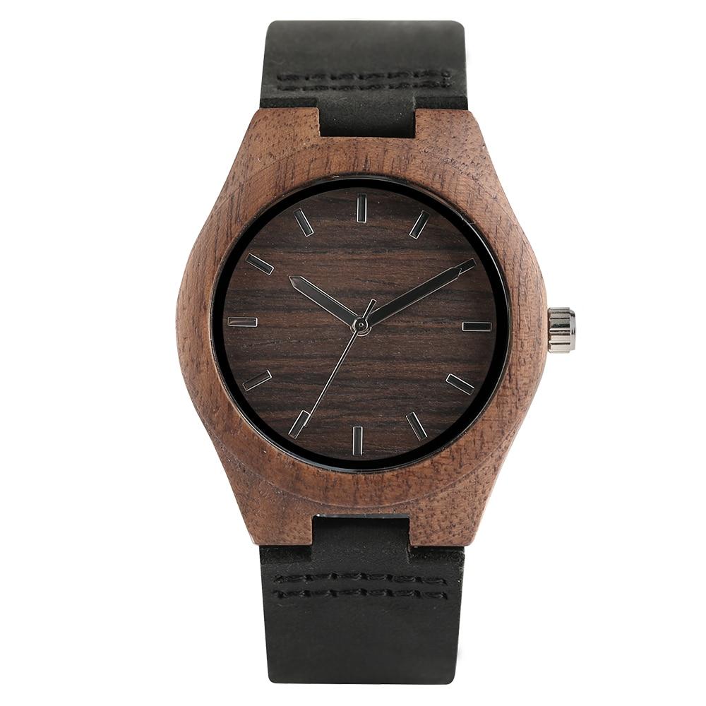 Simple Bark Brown Analog Women Wood Watches For Ladies Girl Women Handmade Bamboo Wristwatch Quartz Watch Relogios Gifts Bag