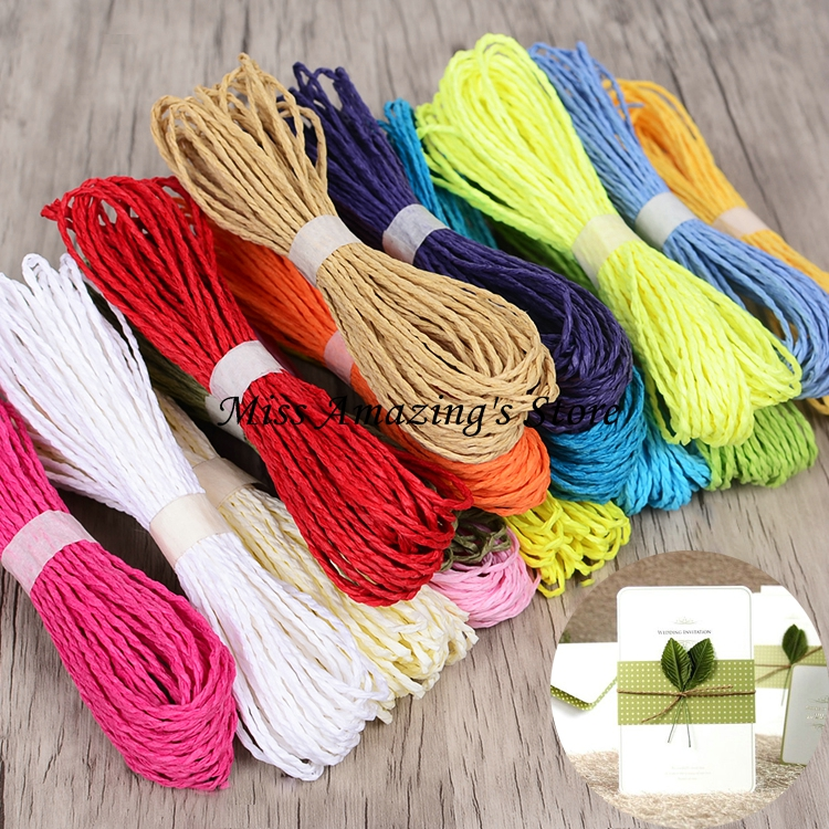 26m 13 värit DIY kierretty paperi Raffia Craft Favor lahjapaketointi - Tavarat lomien ja puolueiden - Valokuva 1