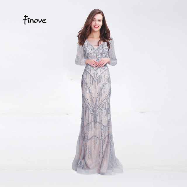 f72308ce0e Finove New Arrivals Evening Dress 2019 Chic Sliver Fully Beaded Tassels Long  Sleeves Straight Floor Length Party Woman Dresses