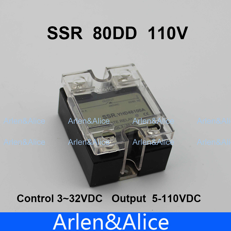 80DD SSR Control voltage 3~32VDC output 5~110VDC DC single phase DC solid state relay 80dd ssr control voltage 3 32vdc output 5 60vdc dc single phase dc solid state relay