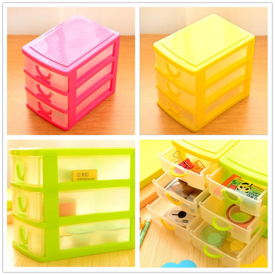Modern Design Desktop Plastic Storage Box with Three Drawers Jewelry