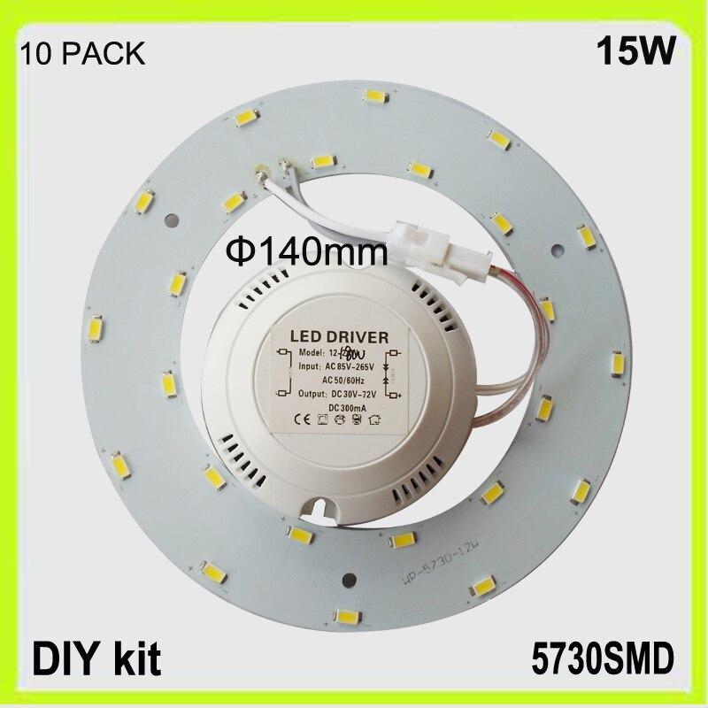 Velkoobchod 10 PACK 1200lm 12W LED stropní světlo led prsten PCB kulaté dia140mm svítidla lampara DIY instalace 120v 220V 230V 240V