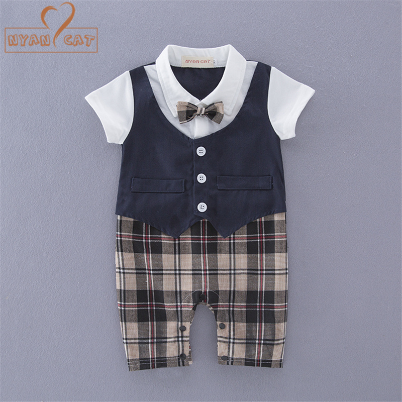 Nyan Cat Baby boy romper summer short sleeves plaid gentleman bow tie blue kakhi toddler jumpsuits rompers Birthday clothing