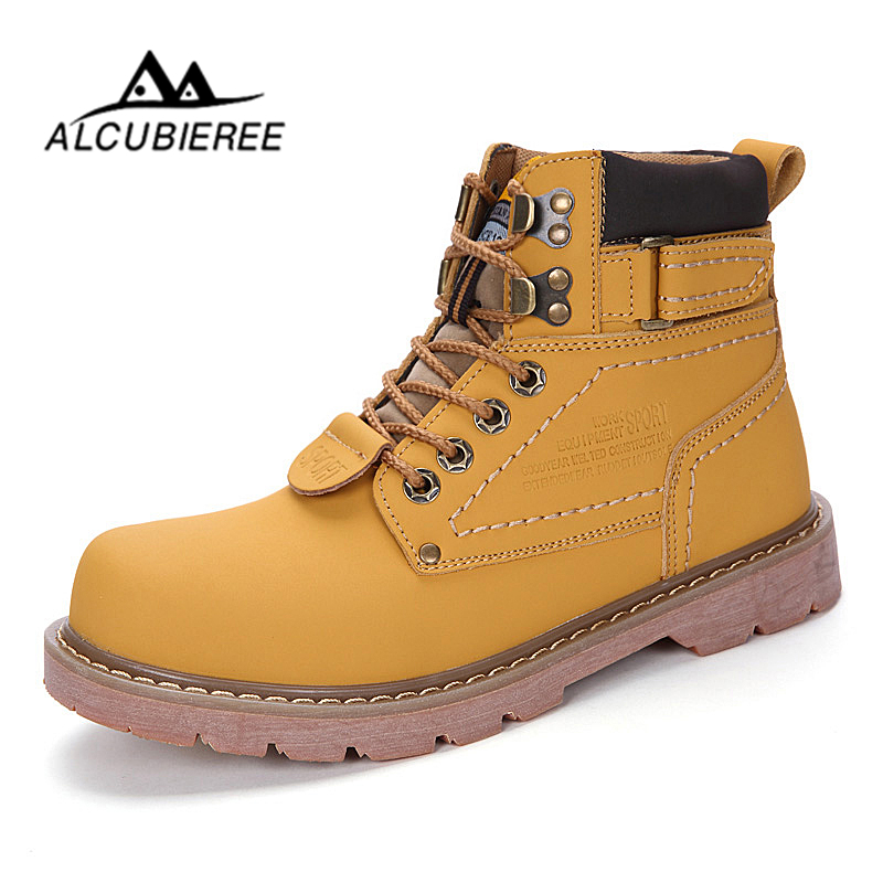 2018 ALCUBIEREE Warm Men Martin Boots Couples Winter Casual Rubber Snow Boots Leather High Top Ankle Boots Men Leisure Shoes 2018 fashion men ankle boots casual men genuine leather zipper snow boots winter shoes men martin boots black warm boots cc 34