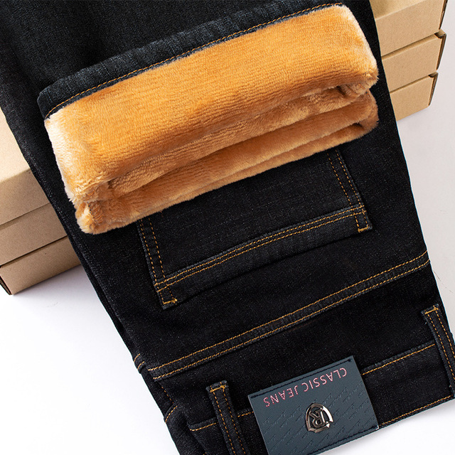 Counter quality plus velvet jeans men Autumn and winter warm Slim stretch thick jeans straight classic jeans black blue size 42