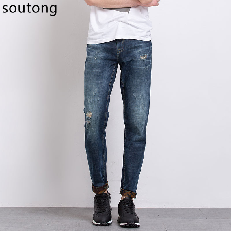 Soutong Jeans Fashion Jeans Men Washable Elastic Pants Casual Straight Ripped  Jeans For Men Size 28-36 7319