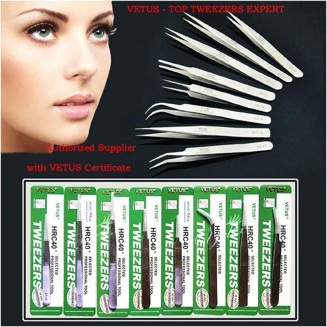 Maquiagem Profissional Stainless Steel Lashes Tweezers Makeup Ferramentas Pinzas Cejas Eyelash Extension Tweezer Pincet VETUS
