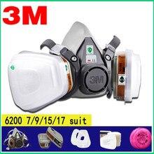 17in1 3 M 6200 media mascarilla facial máscara de Gas respirador pintura pulverización con 6001/2091 Filtro de máscara de polvo