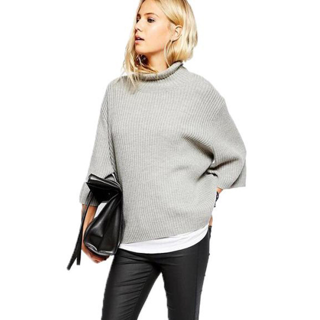 New Fashion Women Sweaters Autumn Winter Spring 2016 Turtleneck Roll High Neck Pullovers Loose Knitted Sweater Female
