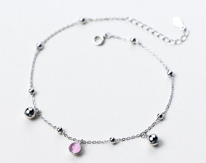 Fine Jewelry Constructive 100% Real 925 Sterling Silver Jewelry Pink Topaz &jingle Bell Chime Sounds &rounds Anklet Chain Bracelet Adjustable Gtls441 Fast Color