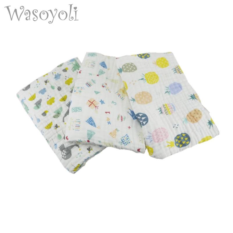 1Pc Wasoyoli Baby Swaddles 120 * 150cm 6 sluoksniai 100% Seersucker Muslin medvilnės naujagimio antklodės antklodės Soft Bath Hold Wraps