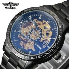 2016! Lujo Negro Sport Reloj de Los Hombres Reloj Automático Esquelético Reloj Mecánico Relogio Masculino Montre Relojes Relojes Militares