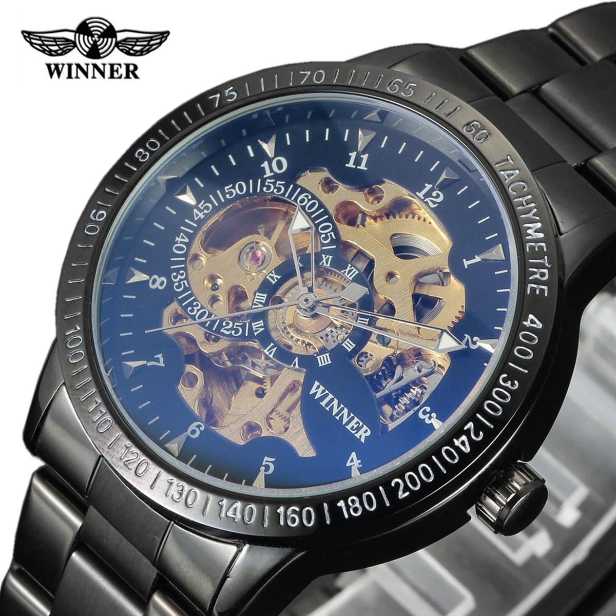Nouveau gagnant de luxe noir Sport horloge hommes Montre automatique squelette militaire Montre mécanique Relogio mâle Montre montres Relojes