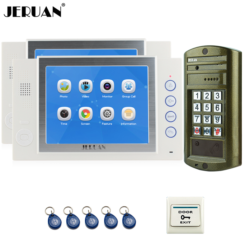 JERUAN  8`` TFT Color Video Door Phone Record Intercom System kit 2 White Monitor +NEW Waterproof Password HD Mini Camera 1V2 8 4inch 8 4 non touch industrial control lcd monitor vga interface white open frame metal shell tft type 4 3 800 600