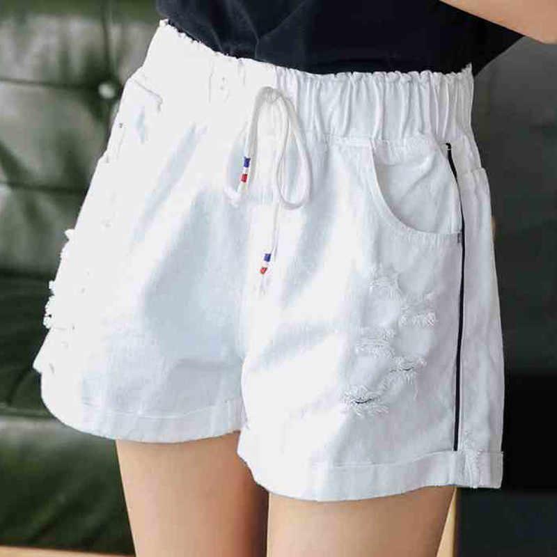 Lato kobiety wysokie do talii elastyczne szorty 2019 moda na co dzień duży rozmiar kobiet spodenki jeansowe wysokiej talii cienkie panie krótkie spodnie TTT137
