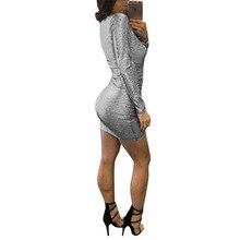 Summer Women Sexy Club Style Sequin Dress Elegant V-Neck Bandage Dress Long Sleeve Short Bodycon Clothing