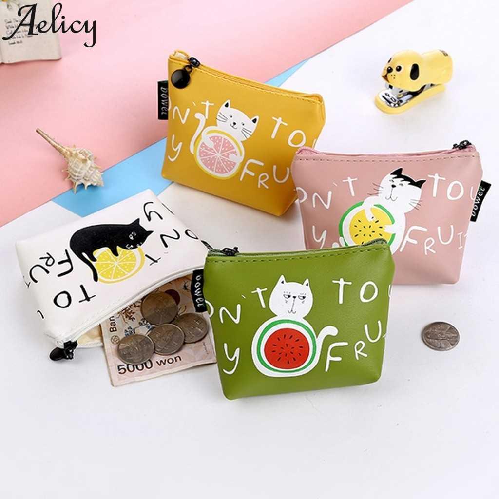 Aelicy かわいいプリント花スナックミニ財布コイン財布女性猫クラッチハンドバッグ女性正方形コインキーを変更カードホルダーバッグ
