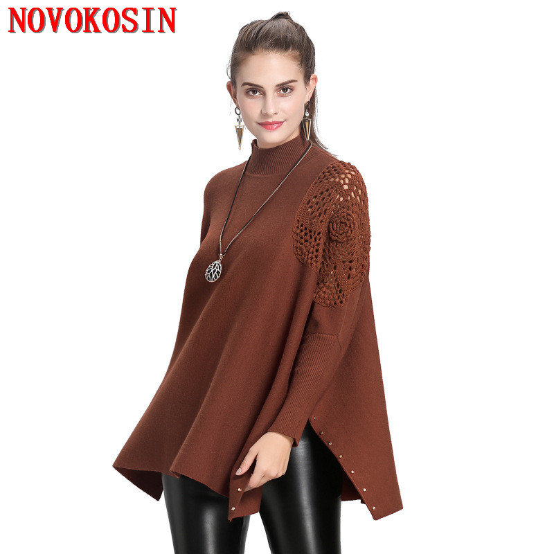 Winter Warm Knitted Plus Size Hollow Out Cape Black Sweater 2018 Autumn Pullover Fashion Women Loose Bat Sleeve High Neck Poncho